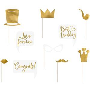 Photobooth Wedding Dourado, 10 unid.