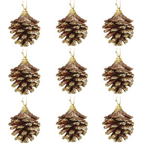 Pinhas Decorativas com Purpurina Dourada, 9 unid.