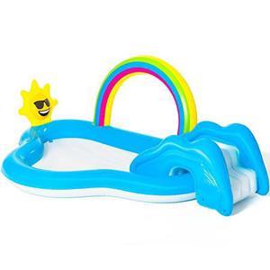 Piscina Infantil Arco-íris com Escorrega, 257 cm