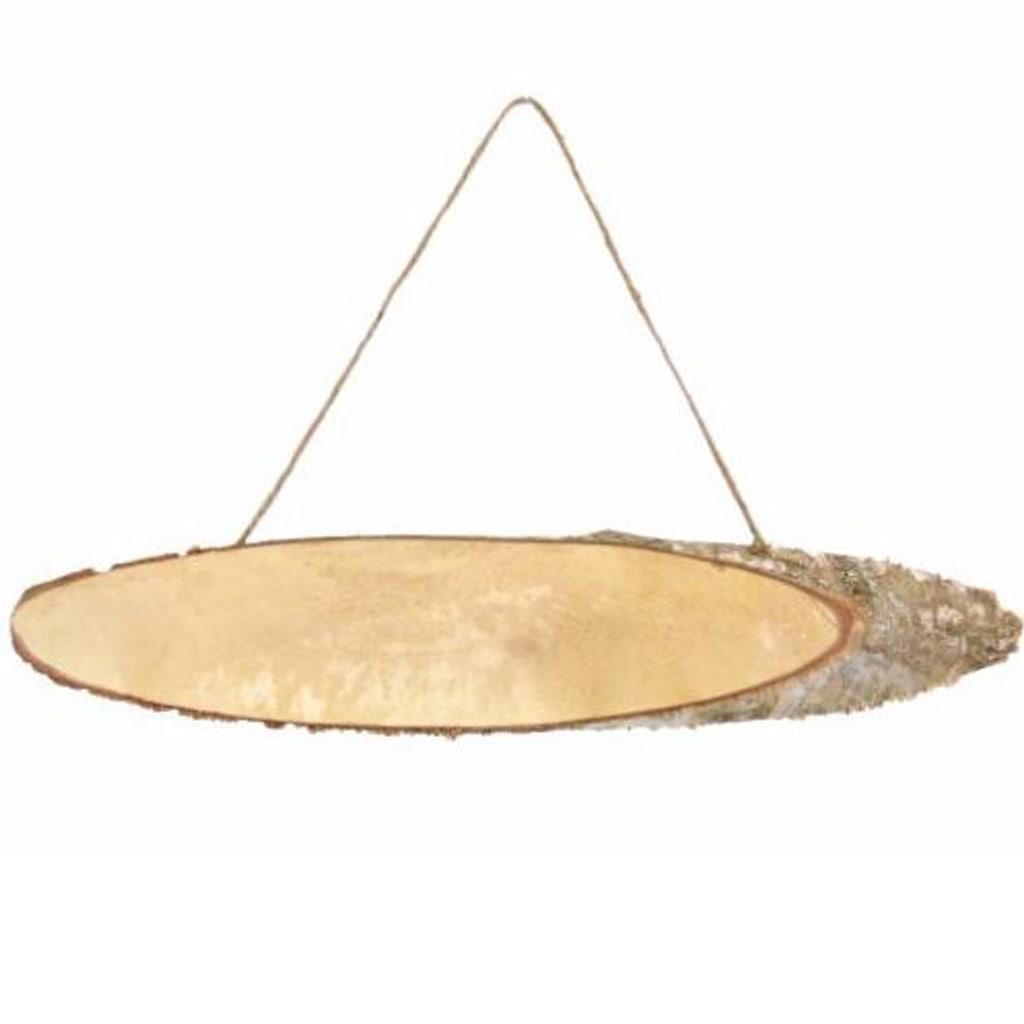 Placa Oval em Madeira para Pendurar, 49 cm