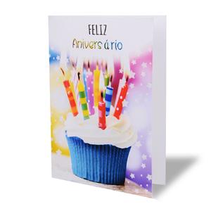 Postal Feliz Aniversário Cupcake