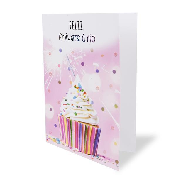 Postal Feliz Aniversário Cupcake Colorido