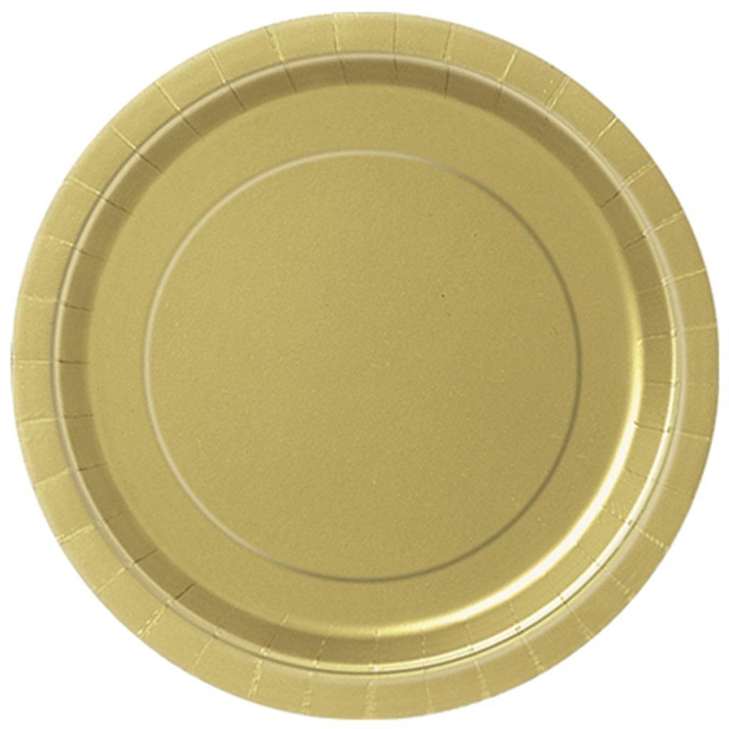 Pratos Dourados 22 Cm, 16 Unid.