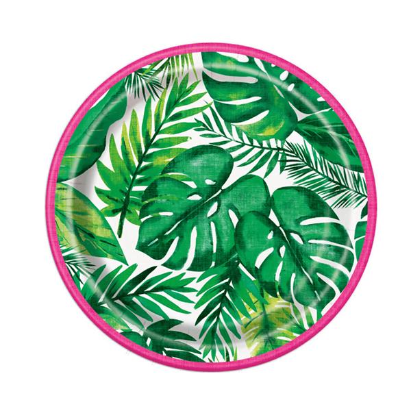 Prato Folhas Tropicais em Papel, 17 cm, 8 unid.