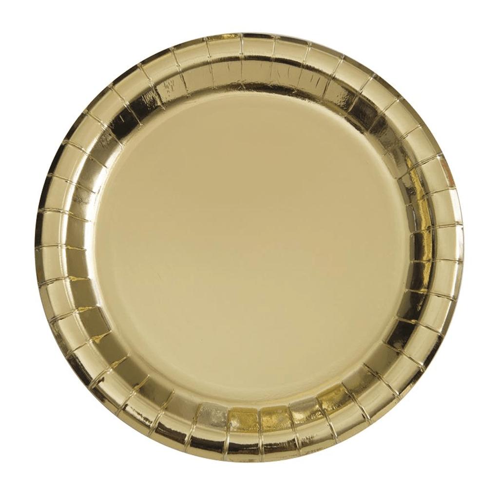 Pratos Dourado Metalizado 17 Cm, 8 Unid.
