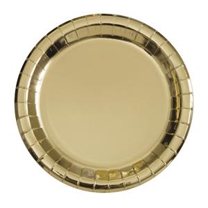 Prato Dourado Metalizado, 8 Unid.