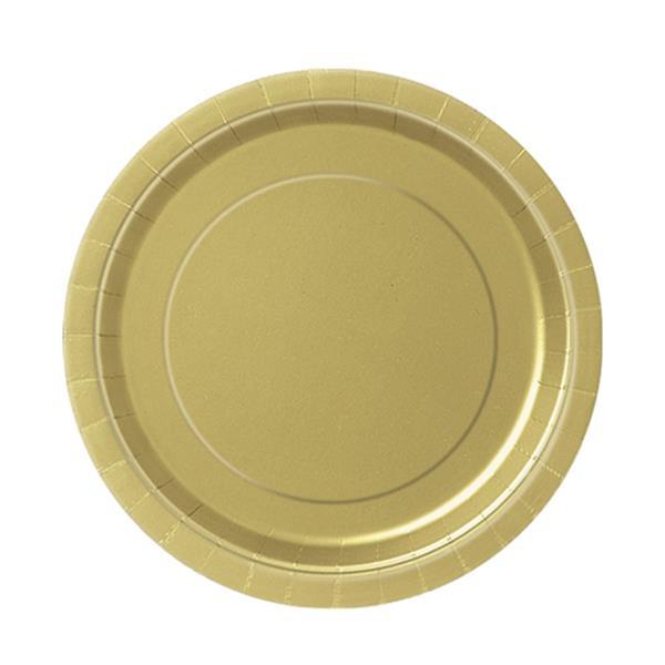 Pratos Dourados 17 Cm, 20 Unid.