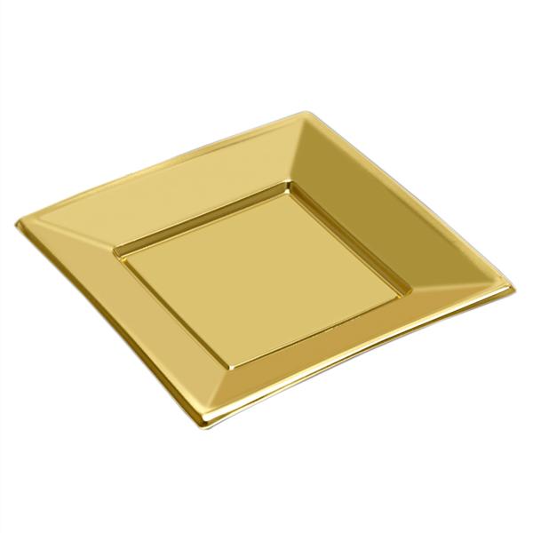 Prato Quadrado Dourado em Plástico, 3 Unid.