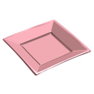 Prato Quadrado Rosa Gold em Plástico, 3 Unid.
