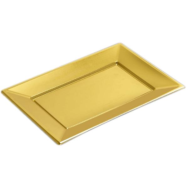 Prato Rectangular Dourado em Plástico, 2 Unid.