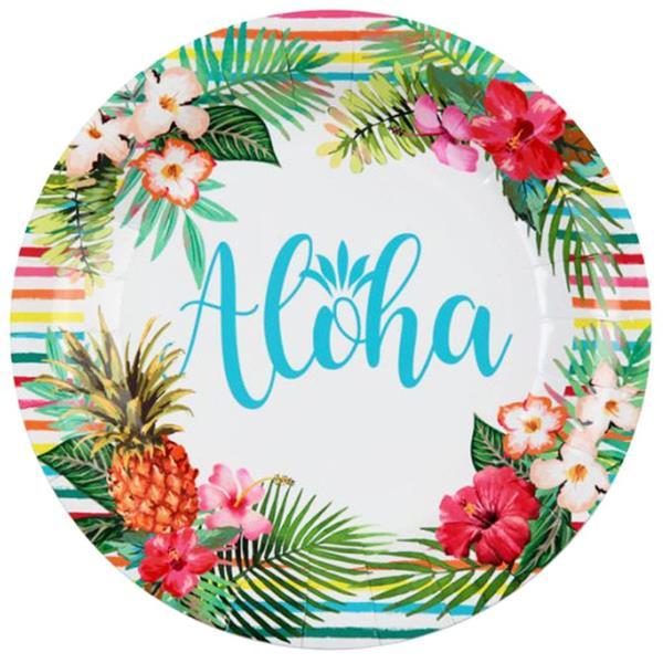 Pratos Aloha Tropical, 23 cm, 10 unid.