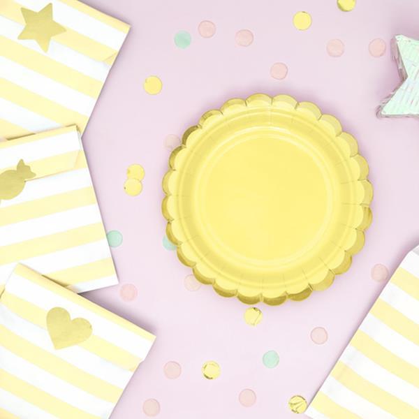 Pratos Amarelos com Rebordo Dourado, 6 unid.