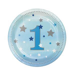 Pratos Azuis 1º Aniversário Pequena Estrela, 18 cm, 8 unid.