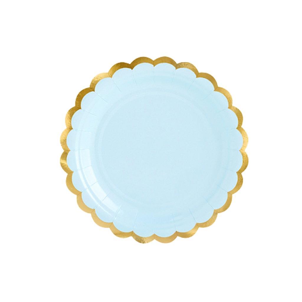 Pratos Azuis com Rebordo Dourado, 6 unid.