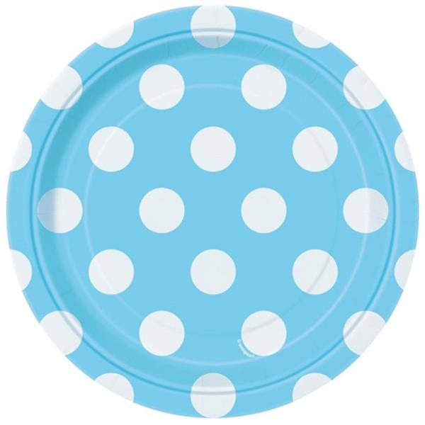 Pratos Azul Bébe Peq. Bolinhas, 8 Unid.
