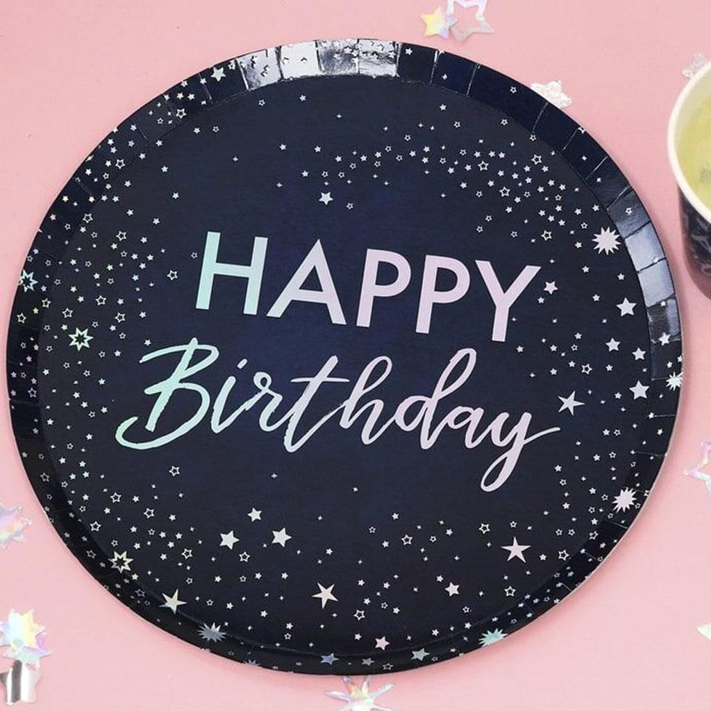 Pratos Azuis Happy Birthday, 23 cm, 8 unid.