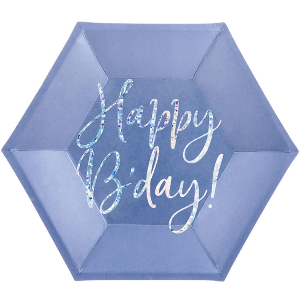 Pratos Azul Happy Birthday Iridescente, 20 cm, 6 unid.