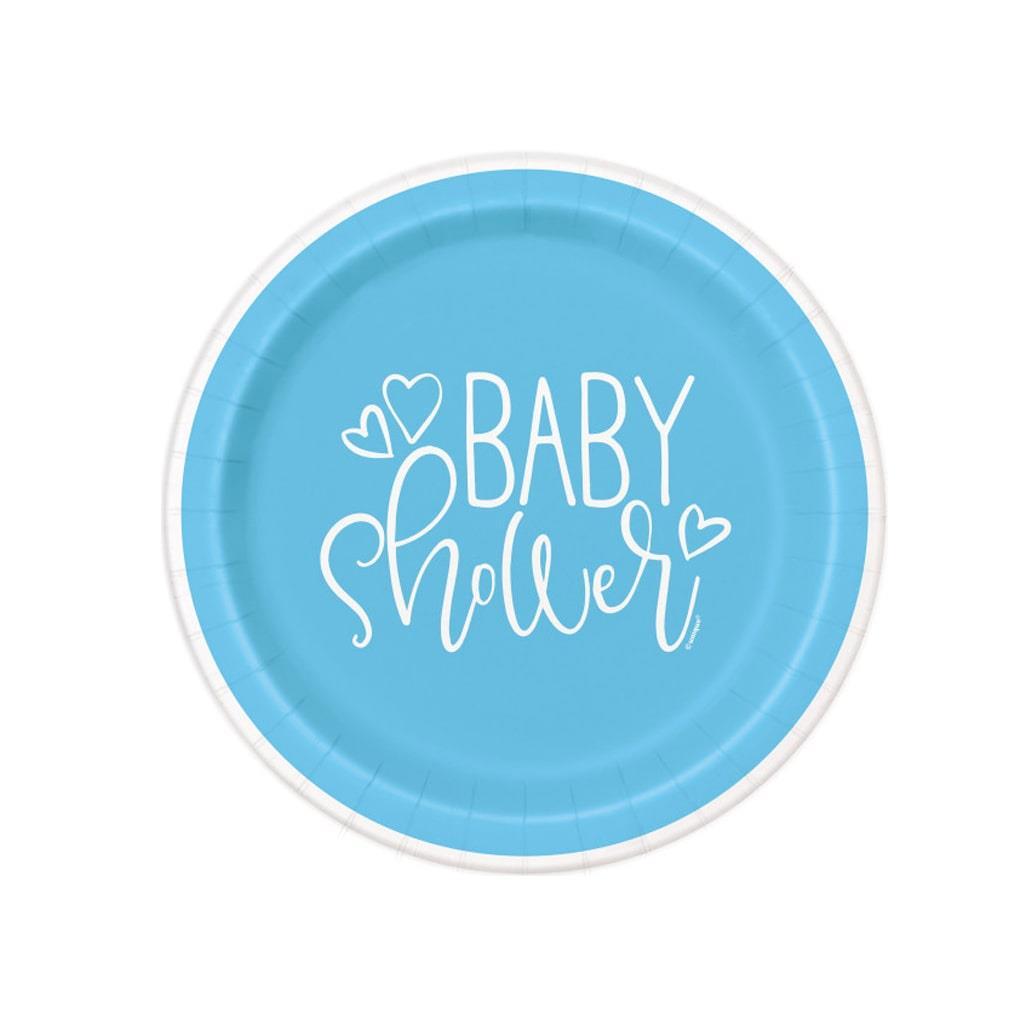 Pratos Baby Shower Azul, 17 cm, 8 unid.