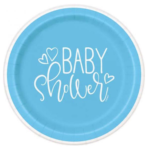 Pratos Baby Shower Azul, 21 cm, 8 unid.