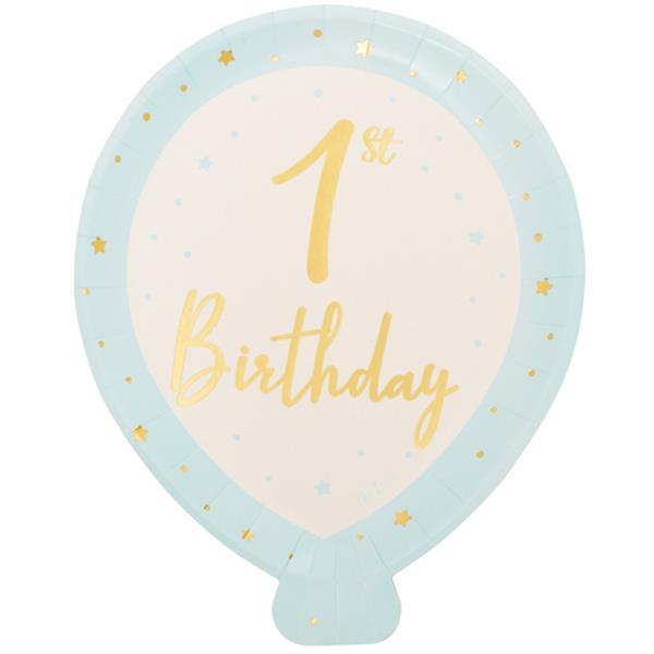 Pratos Balão Azul 1º Aniversário, 25 cm, 8 unid.