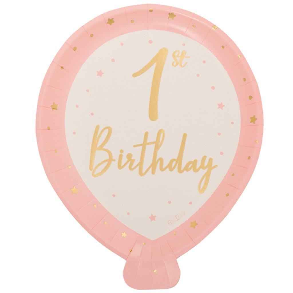 Pratos Balão Rosa 1º Aniversário, 25 cm, 8 unid.