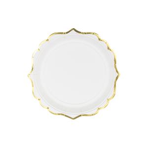 Pratos Brancos com Rebordo Dourado, 18 cm, 6 Unid.