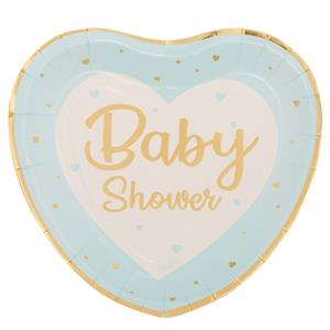 Pratos Coração Azul Baby Shower, 20 cm, 8 unid.