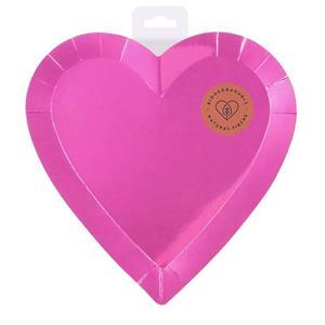 Pratos Coração Rosa, 22 cm, 6 unid.