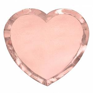 Pratos Coração Rosa Gold, 19 cm, 6 unid.