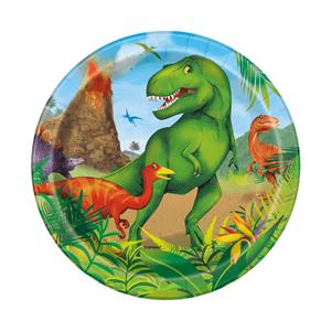 Pratos Dinossauros em Papel, 17 Cm, 8 unid.