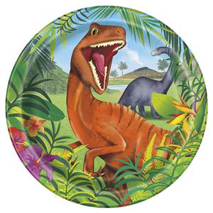 Pratos Dinossauros em Papel, 22 Cm, 8 unid.