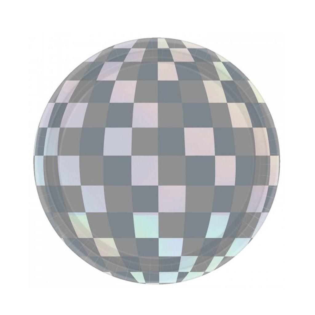 Pratos Disco Iridescentes, 18 cm, 8 unid.