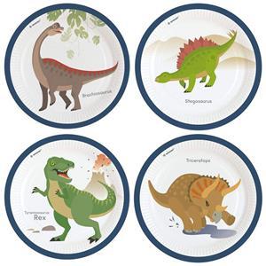Pratos Espécie de Dinossauros, 23 cm, 8 unid.