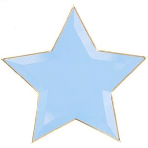 Pratos Estrela Azul com Rebordo Dourado, 27 cm, 6 unid.