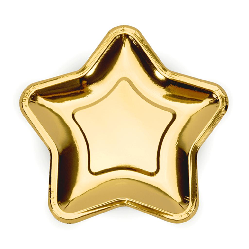 Pratos Estrela Dourados, 18 cm, 6 unid.