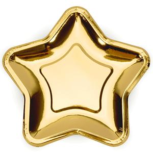 Pratos Estrela Dourados, 23 cm, 6 unid.