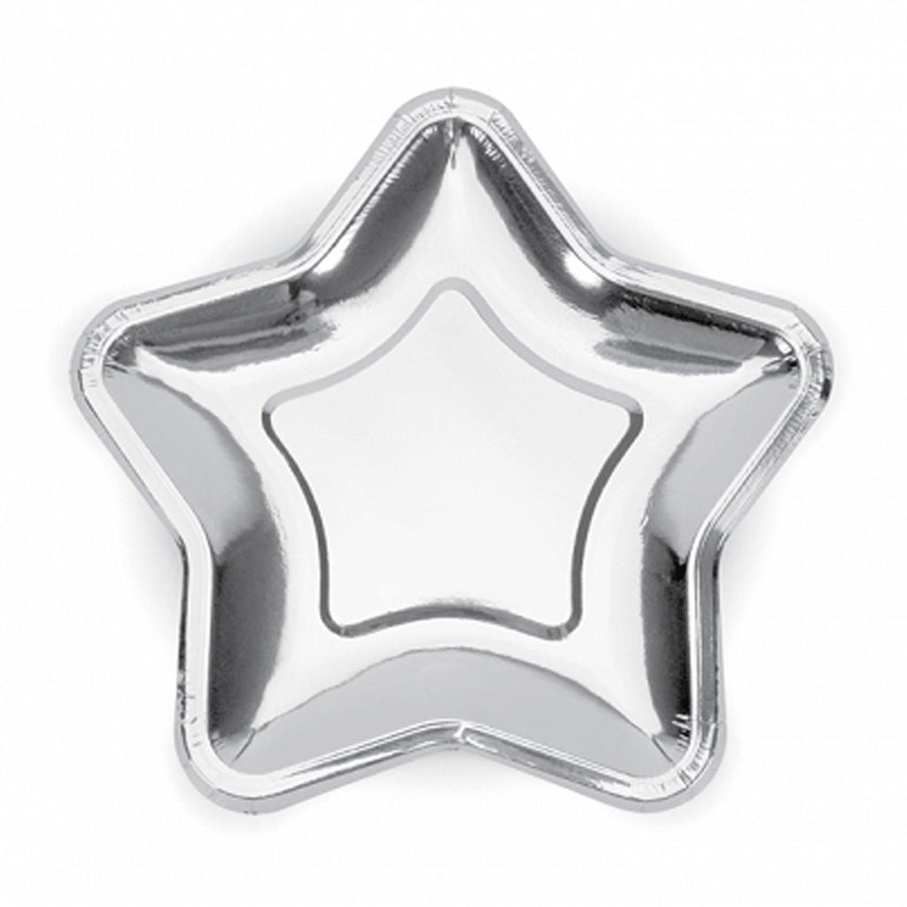 Pratos Estrela Prateados, 18 cm, 6 unid.