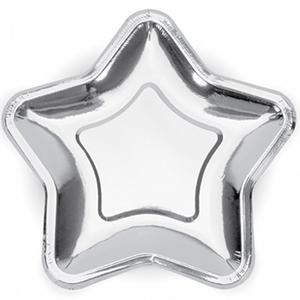 Pratos Estrela Prateados, 23 cm, 6 unid.