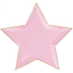 Pratos Estrela Rosa com Rebordo Dourado, 27 cm, 6 unid.