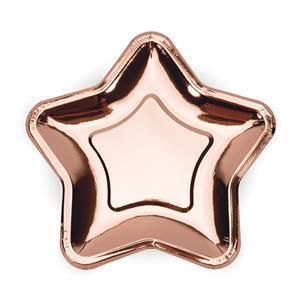 Pratos Estrela Rosa Gold 18 cm, 6 unid.