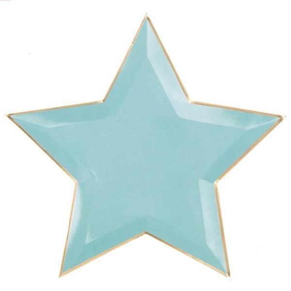Pratos Estrela Verde Menta com Rebordo Dourado, 27 cm, 6 unid.