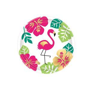 Pratos Flamingo Aloha, 17 cm, 8 unid.