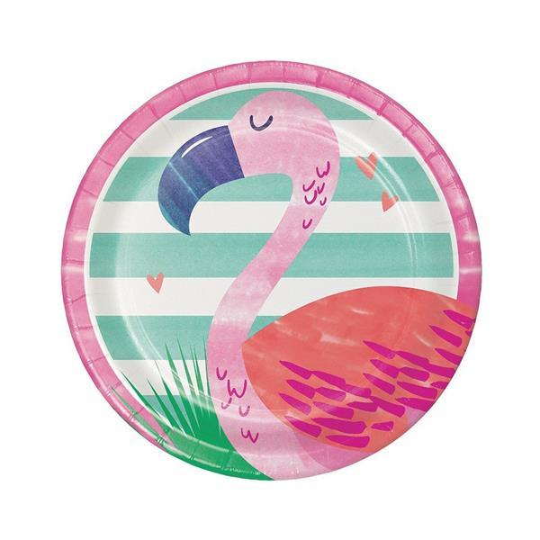 Pratos Flamingo Tropical, 17 cm, 8 unid.