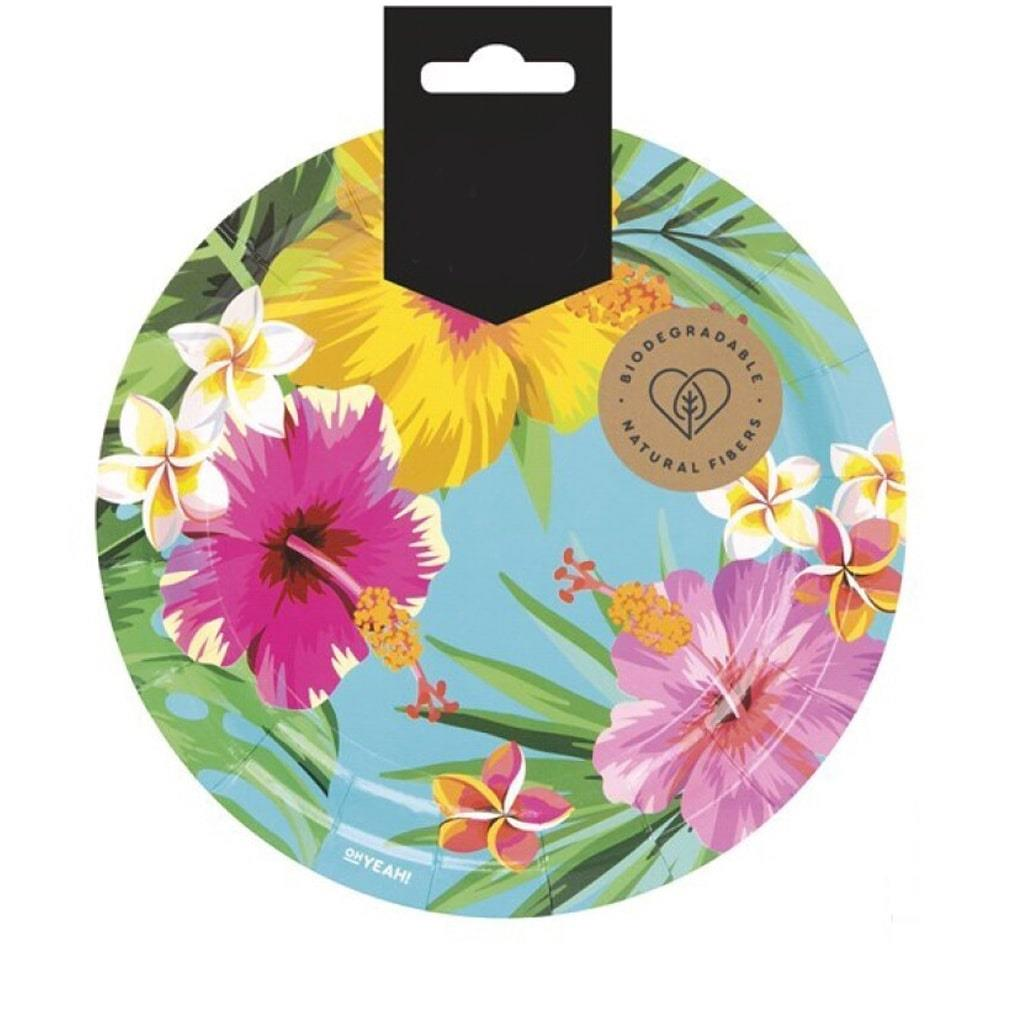 Pratos Flores Havaianas, 18 cm, 8 unid.