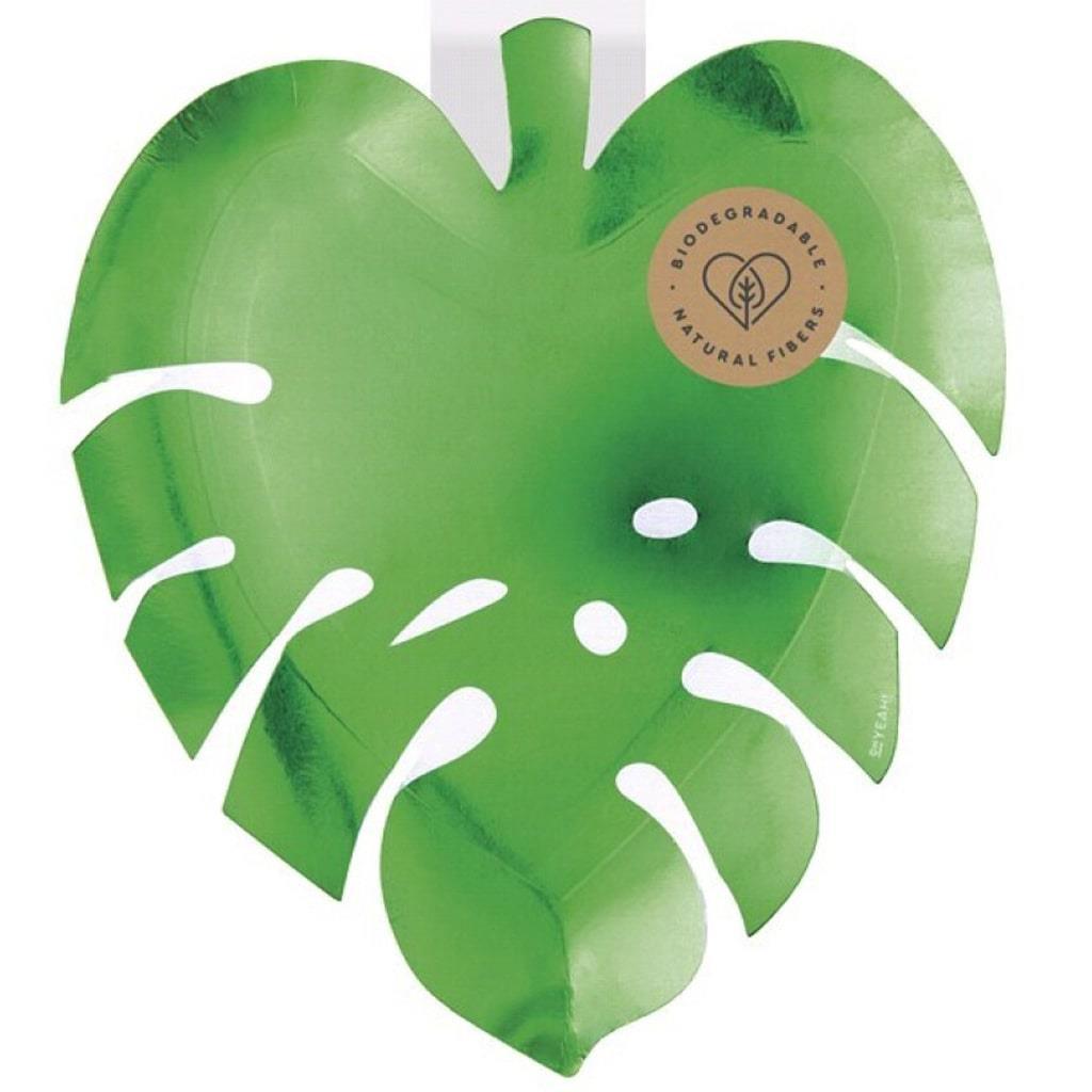 Pratos Folha Tropical Verde, 20 cm, 6 unid.