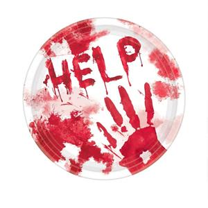 Pratos Help Ensaguentados, 17 cm, 18 unid.
