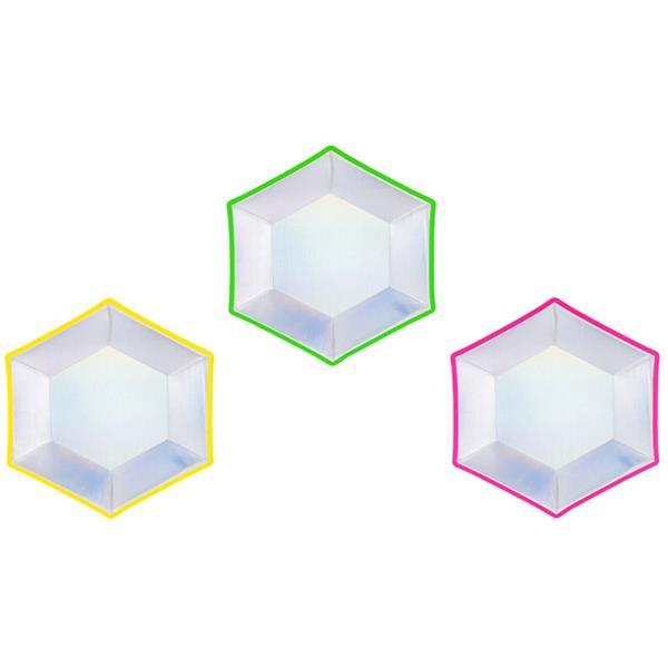 Pratos Hexagonais Iridescente com Rebordo Multicolor, 20 cm, 6 unid.