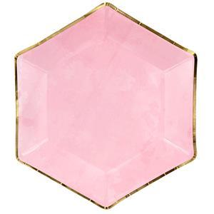 Pratos Hexagonais Rosa com Rebordo Dourado, 23 cm, 6 unid.