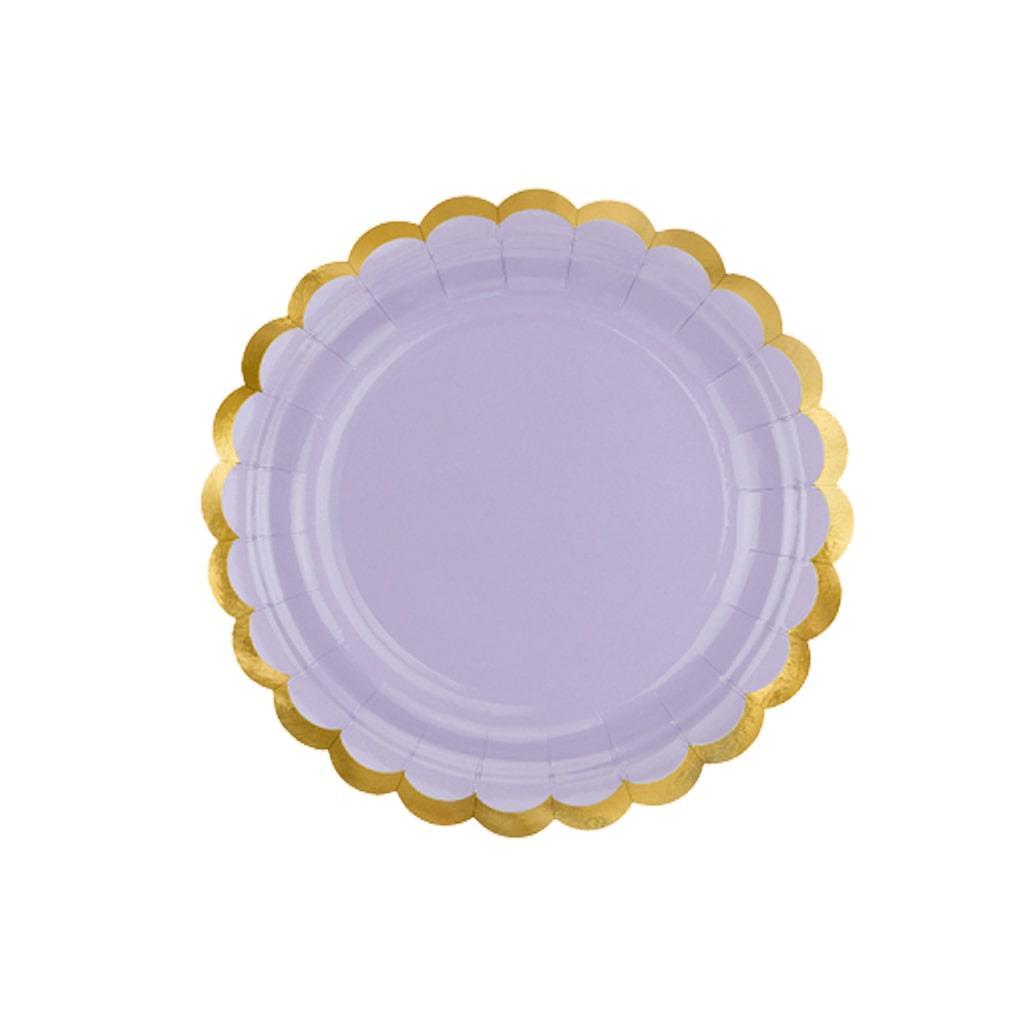Pratos Lilás com Rebordo Dourado, 6 unid.