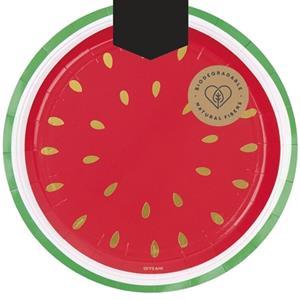 Pratos Melancia de Verão, 23 cm, 6 unid.